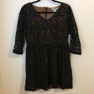 Pinky black lace mini 3/4 dress L empire party jr